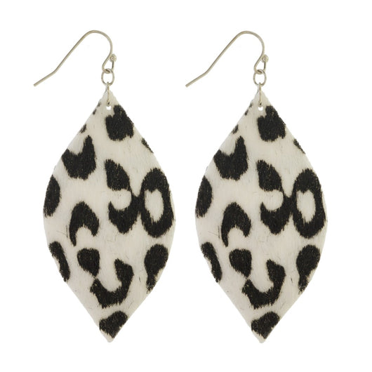 White Leopard Teardrop Earrings - Samsara