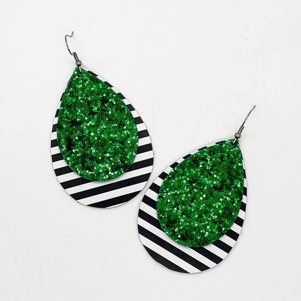 Striped tear drop earrings