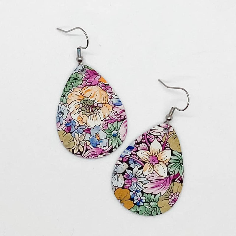 Multi Color Floral Tear Drop Earrings