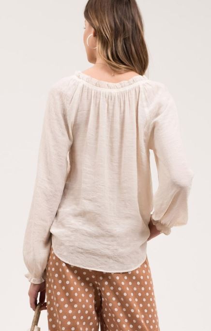 Raelyn Peasant Blouse-Natural