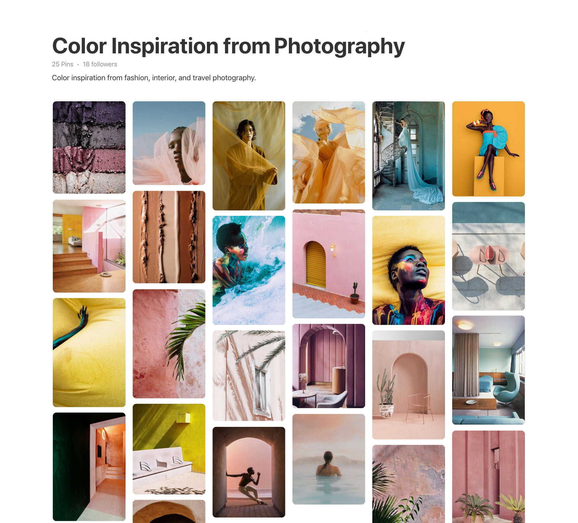 Photo Surfaces Pinterest Inspiration, Mood Boards