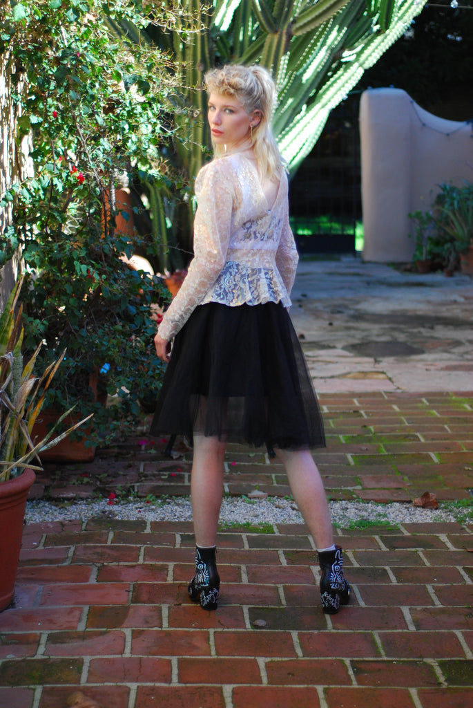 Tulle Midi Black Skirt