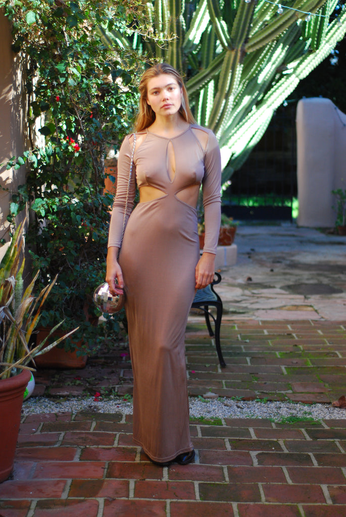 Tan Cut Out Long Dress