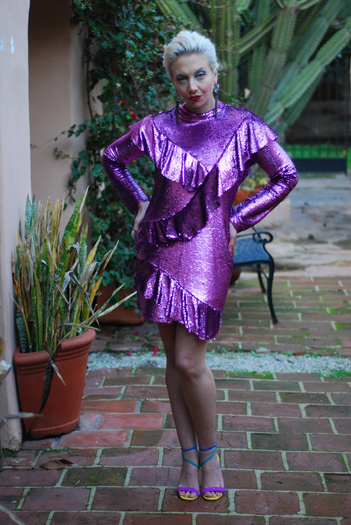 Ruffle Purple Sequin Dress