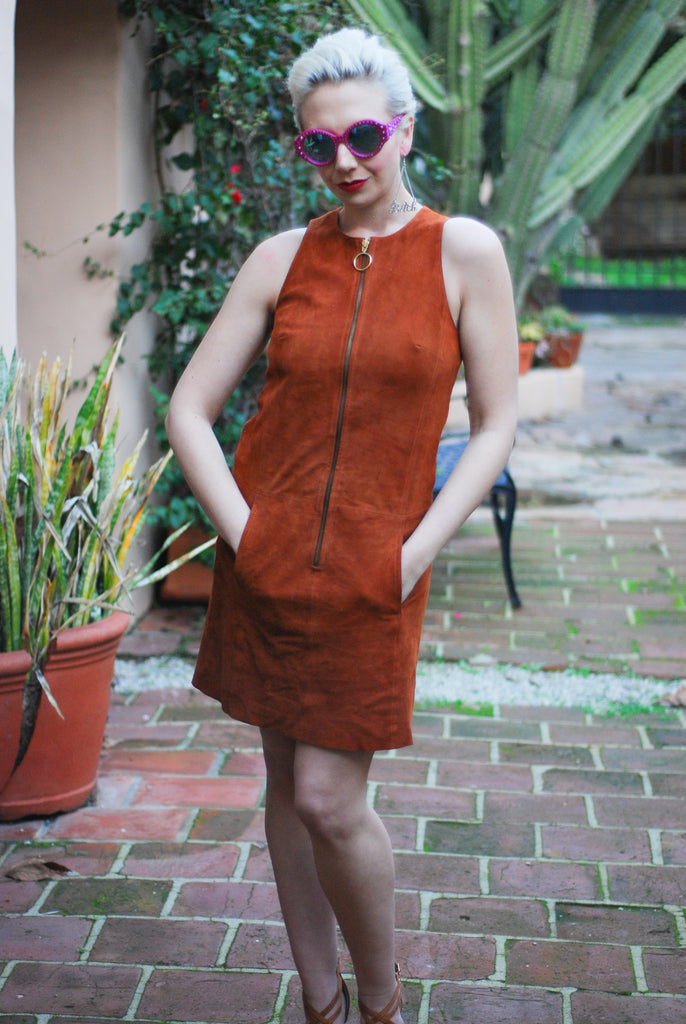 Suede 70s Dress