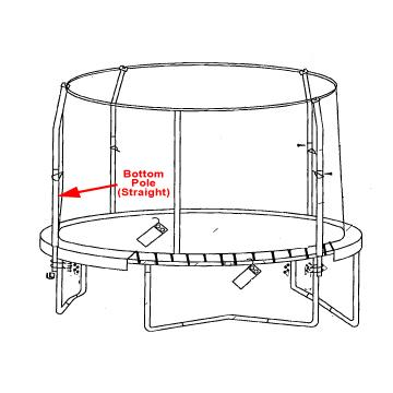 Bottom Straight Pole for Orbounder 4 Pole Enclosure - Trampoline