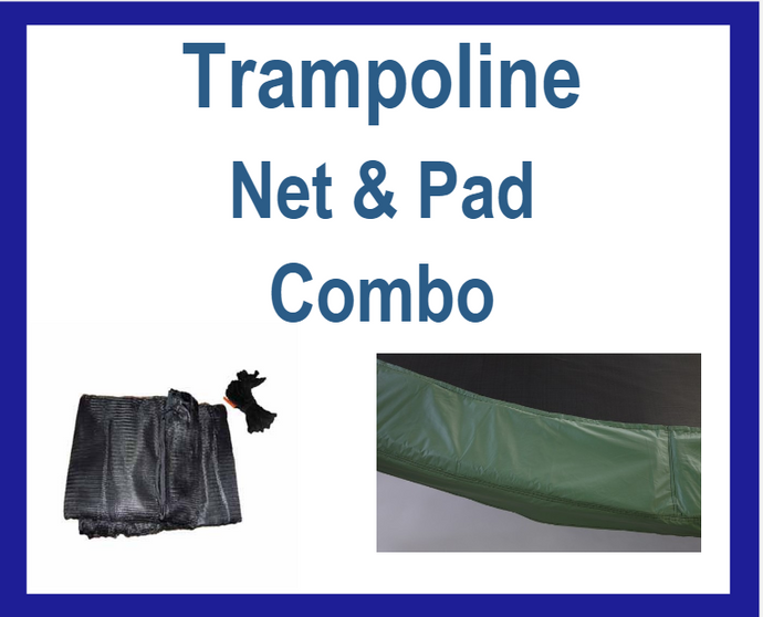 Net And Pad Combo For 15Ft Frames With 6 Pole Top Ring Enclosure-YJNYJP-TR-15-6-G