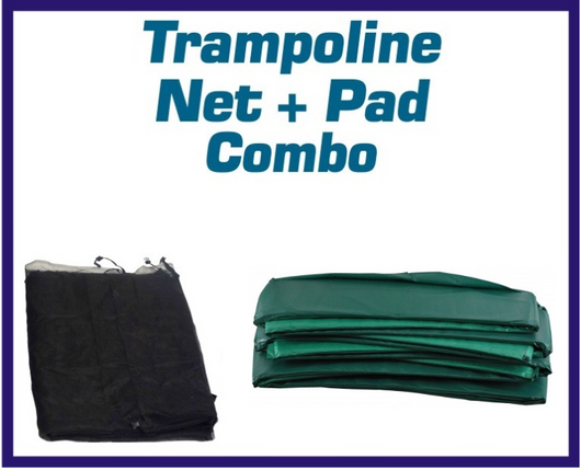 Net And Pad Kit For 15Ft Round Frame With 5 Pole Top Ring Enclosure-UBNUBPTR15 - Just Trampolines