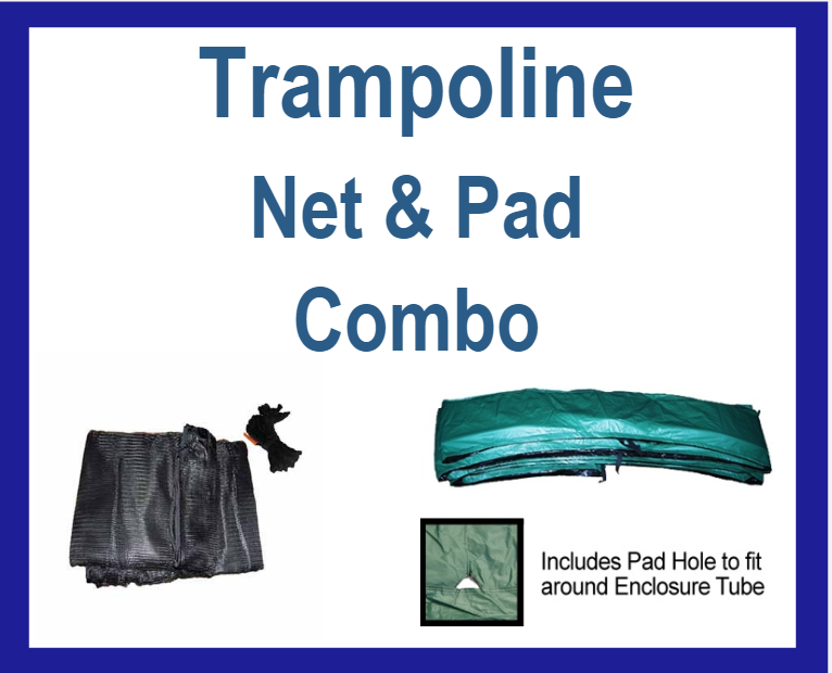 Net And Pad Combo For 15Ft Frames With 4 Pole Top Ring Enclosure-YJNYJP-TRJP-15-4-G