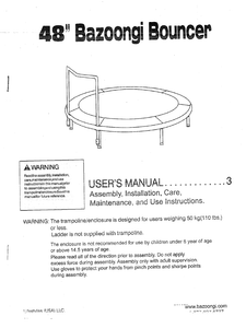 BZ4808 User Manual - Trampoline
