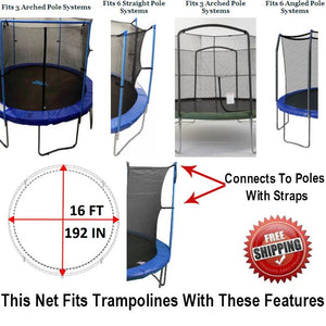 Net And Pad Combo For 16 Ft. Round Frames With 6 Poles Or 3 Arches
