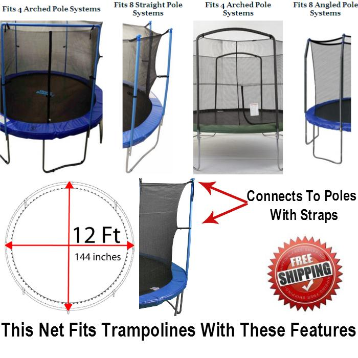 Net And Pad Combo For 12 Ft. Round Frames With 8 Poles Or 4 Arches - Trampoline