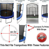 Net And Pad Combo Fits 10 Ft. Round Frames With 6 Poles Or 3 Arches
