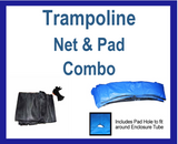 Net And Pad Combo For 15Ft Frame With 5 Pole Top Ring Enclosure-YJNYJP-TRJP-15-5-Blue