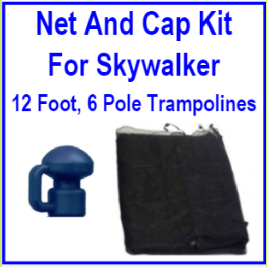 12 Ft 6 Pole Net And Pole Cap Combo Kit For Skywalker Trampolines
