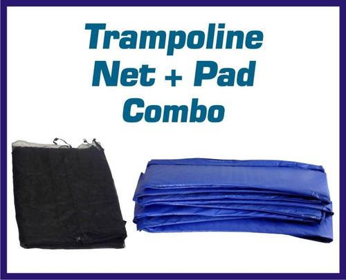 Net And Pad Combo Fits 10 Ft. Round Frames With 6 Poles Or 3 Arches - Trampoline