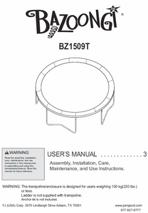 BZ1509T User Manual - Trampoline