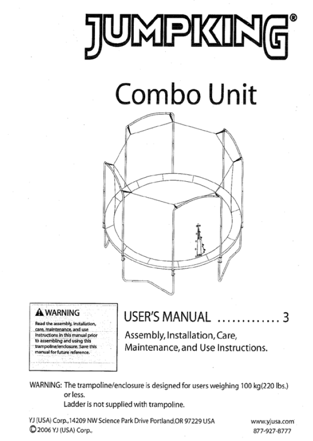JK1511 User Manual - Trampoline