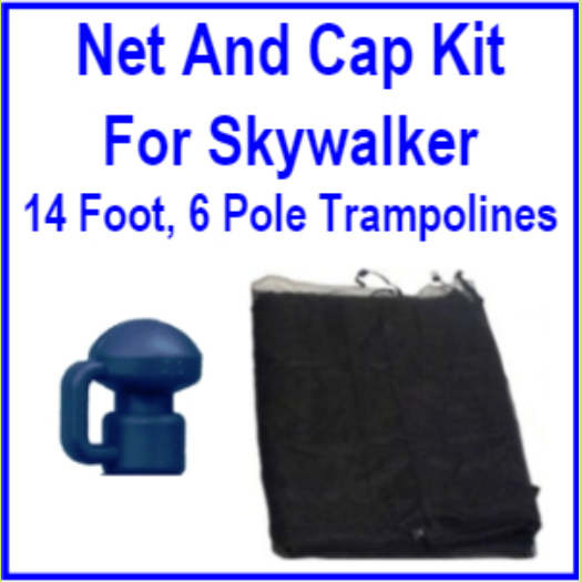 14 Ft 6 Pole Net And Pole Cap Combo Kit For Skywalker Trampolines