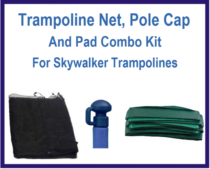 Net And Pad Combo Kit For 14 Ft 6 Pole Skywalker Trampolines-UBSW-14-6-IS-B-G