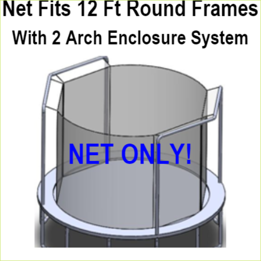 Net Fits 12 Ft. Round Frames with 2 arch enclosure systems-UBNET-12-2AP