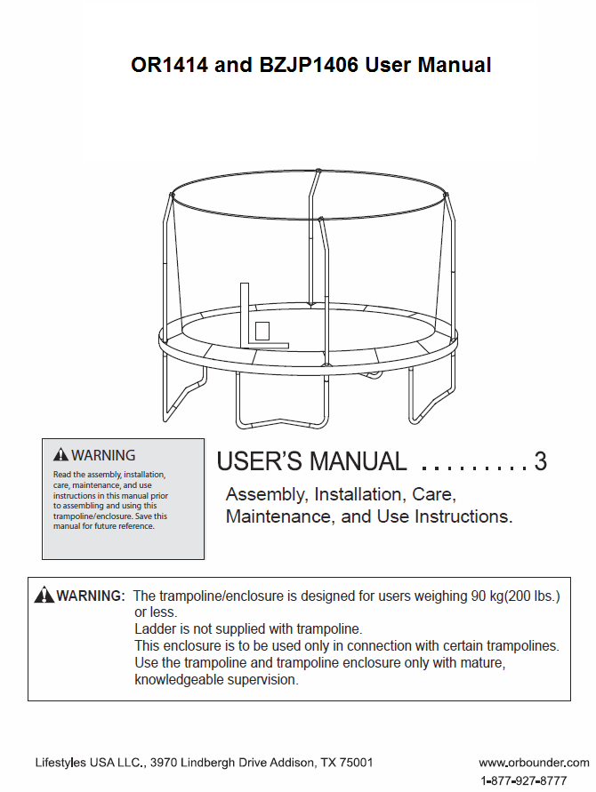 BZJP1406 and OR1414 User Manual - Trampoline