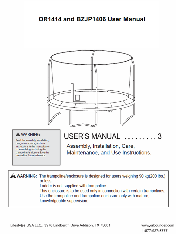 BZJP1406 and OR1414 User Manual