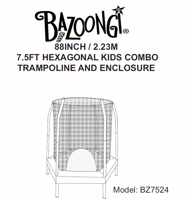 BZ7524 User Manual - Trampoline