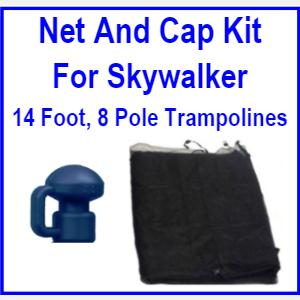 14Ft 8 pole Net And Pole Cap Combo Kit For Skywalker Trampolines - Trampoline