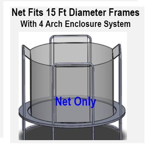 Net Fits 15 Ft. Round Frames With 4 Arch Enclosure Systems-UBNET-15-4AP