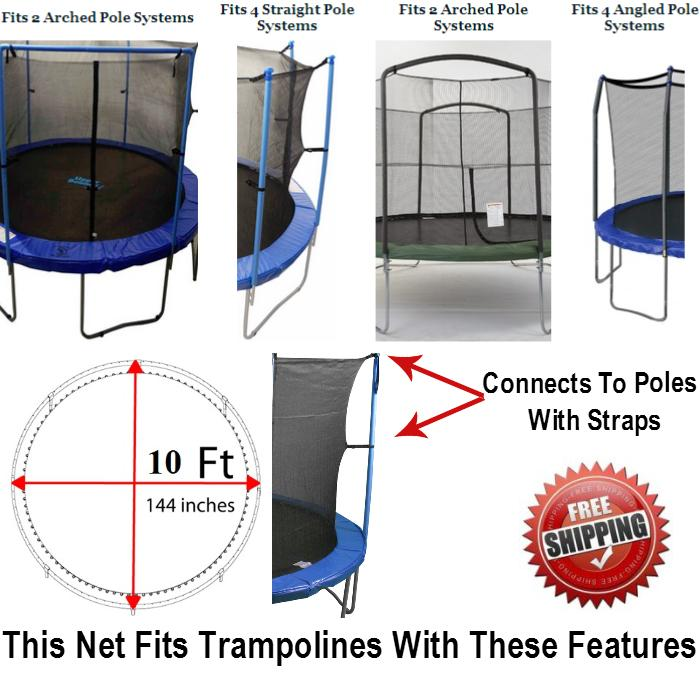 Net And Pad Combo For 10 Ft. Round Frames With 4 Poles Or 2 Arches - Trampoline