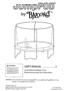 BZJP1206 User Manual - Trampoline