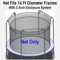 Net Fits 14 Ft. Round Frames With 3 Arch Enclosure Systems-UBNET-14-3AP