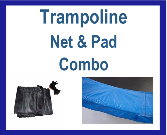 Net And Pad Combo For 15Ft Frames With 6 Pole Top Ring Enclosure-YJNYJP-TR-15-6-B