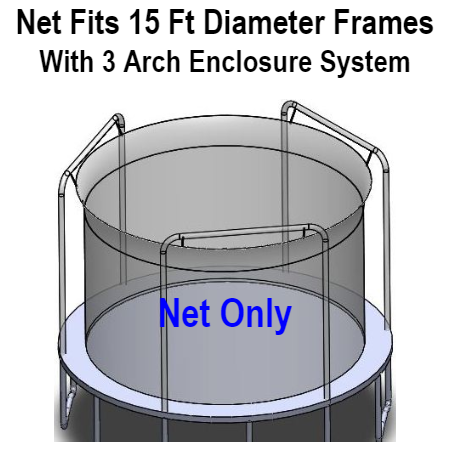 Net Fits 15 Ft. Round Frames With 3 Arch Enclosure Systems-UBNET-15-3AP
