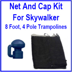 8 Ft 4 Pole Net And Pole Cap Combo Kit For Skywalker Trampolines