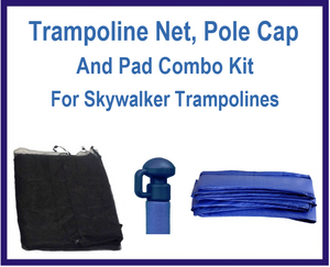 Net And Pad Combo Kit For 14 Ft 6 Pole Skywalker Trampolines-UBSW-14-6-IS-B-B