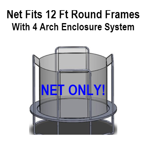 Net Fits 12 Ft. Round Frames With 4 Arch Enclosure Sytems-UBNET-12-4AP
