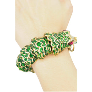 Kenneth Jay Lane Gold Green Enamel Crocodile Bracelet - IDoGood