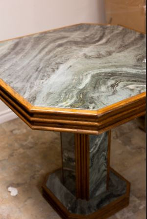 Oak and marble high top table - IDoGood