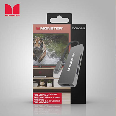 Monster USB-C 4-Port Hub - USB Type-C to 4 USB 3.0