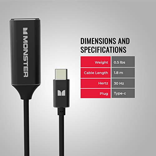 Monster Classic 1.6ft / 0.5m USB C to HDMI Adapter