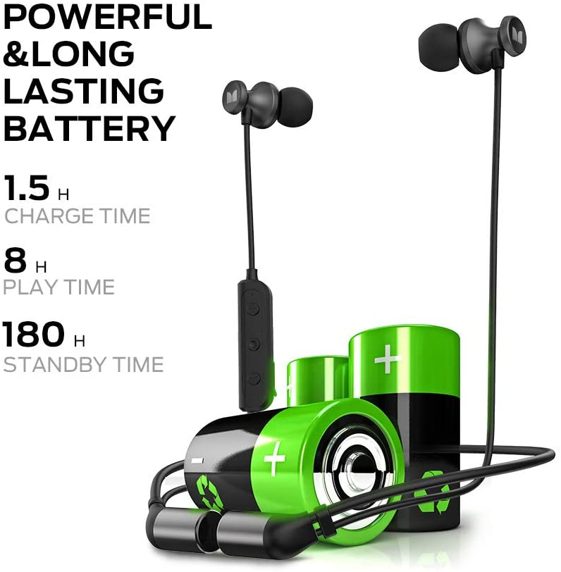 Monster Wireless Headphones,Isport Solitaire Bluetooth Earbuds IPX5 Water Resistant,Bluetooth 5.0 in-Ear Sport Magnetic Connection Earphones with Mic ,HD Stereo Headset for Gym,Workout,Running