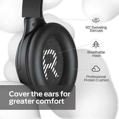 Monster Persona Active Noise Cancelling Headphones Over Ear Bluetooth Headphones Deep Bass Stereo Sound Quick Charge Memory Foam Ear Cushions 30H Playtime for Travel Home Office (Black)