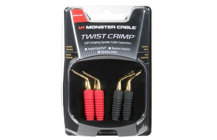 Twist Crimp Toolless Speaker Cable Connectors Angled Gold Pins