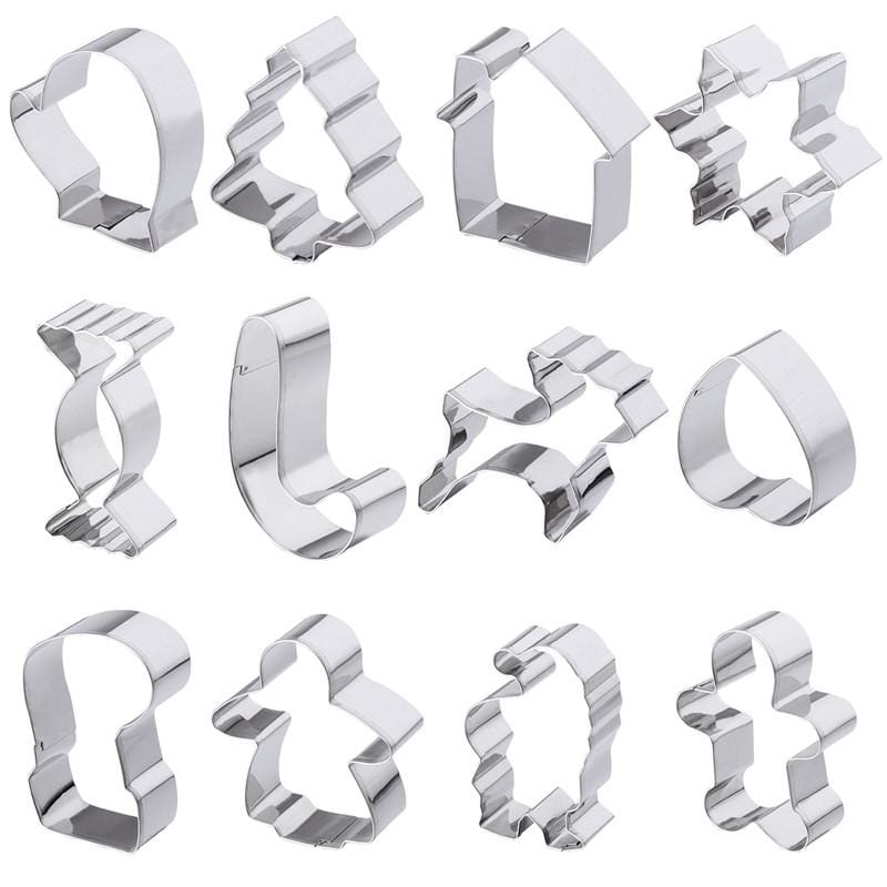 12Pcs Nonstick Stainless Steel Cookie/cake Molds