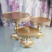 Beautiful Gold W/ Crystal Pendant Cake Stand (8/10/12)
