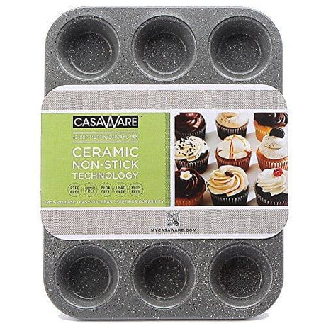 Casaware Ceramic Coated Nonstick 12 Cup Muffin Pan (Silver Granite)
