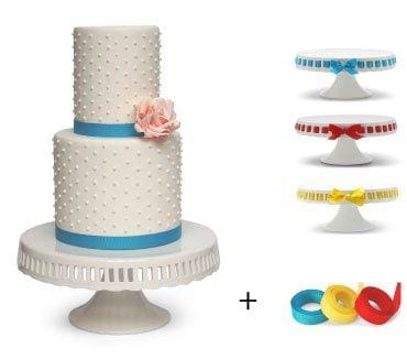 Pedestal Footed Cake Stand With Interchangeable Ribbon Trim (Includes 3 Grosgrain Ribbons) - Perfect For Wedding Cakes Baby Showers