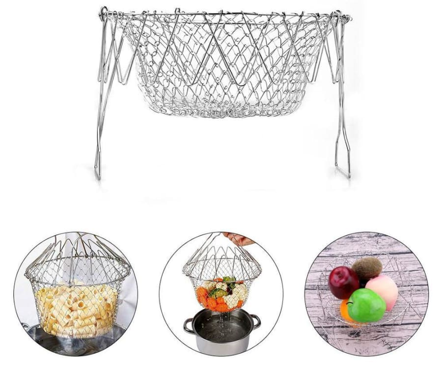 Stainless Steel Expandable Basket For Frying/steaming/drying